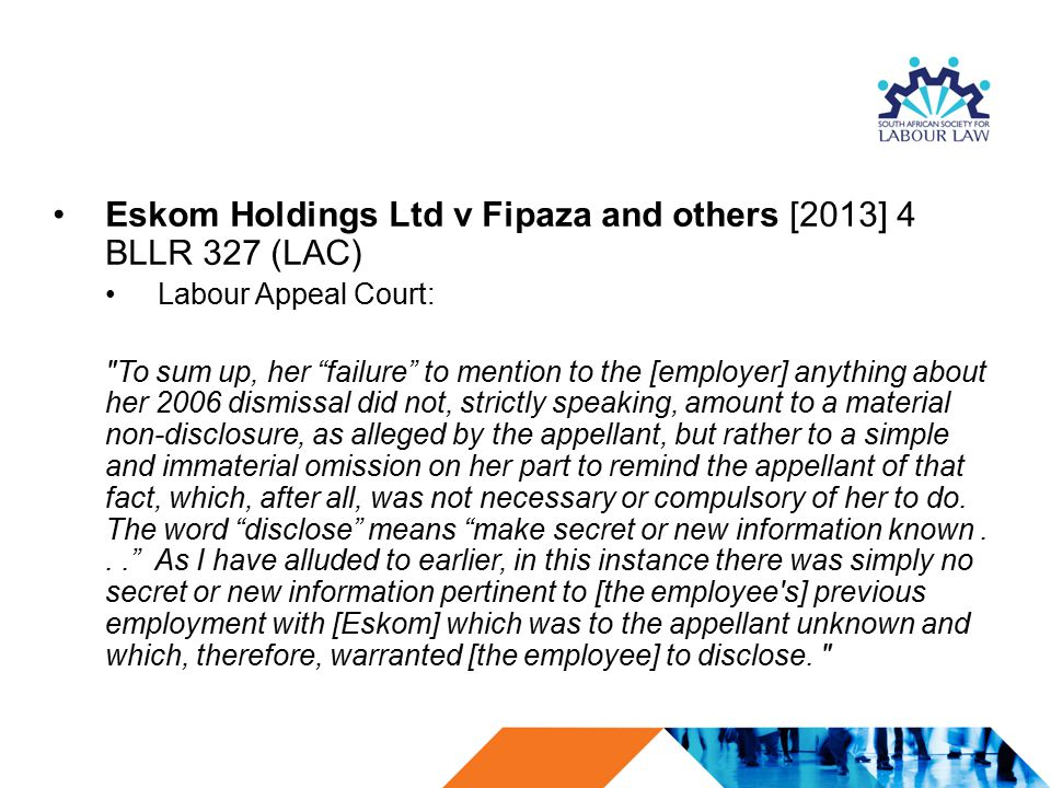 Eskom Holdings Ltd v Fipaza and others [2013] 4 BLLR 327 (LAC)